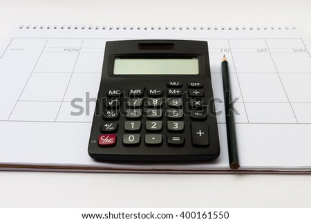 Calculator for calculate earn money with monthly diary template