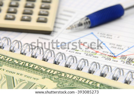 Calculator, graphs, charts, pen and dollars. Business still life
