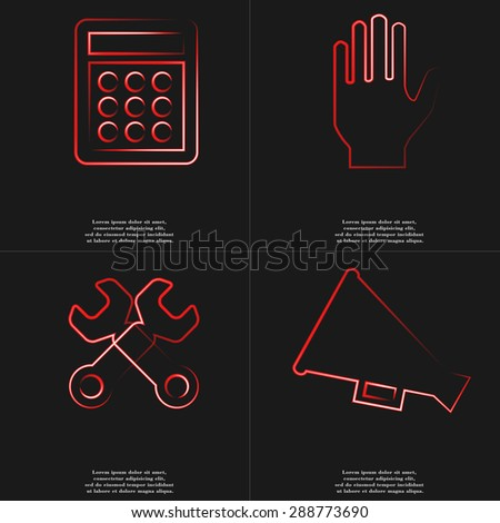 Calculator, Hand, Wrenches, Megaphone icon sign. Style red neon symbols with space for your text Rasterized version - stock photo