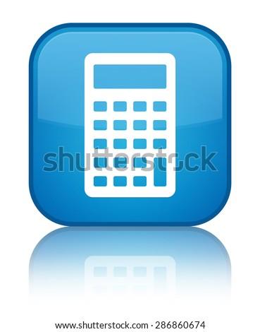 Calculator icon cyan blue square button - stock photo