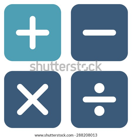 Calculator icon from Business Bicolor Set. This flat raster symbol uses cyan and blue colors, rounded angles, and isolated on a white background.