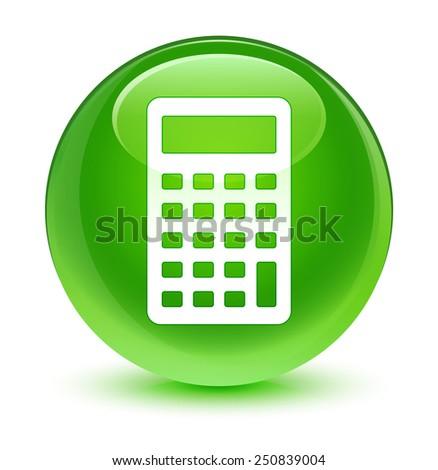 Calculator icon glassy green button - stock photo