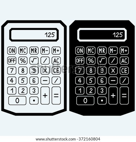Calculator icon. Isolated on blue background. Raster version - stock photo