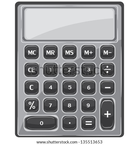 calculator in black and white on a white background