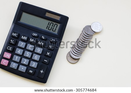 Calculator in business concept - stock photo