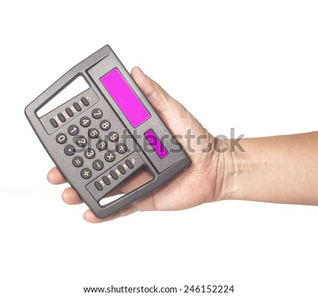 calculator in hand on isolate