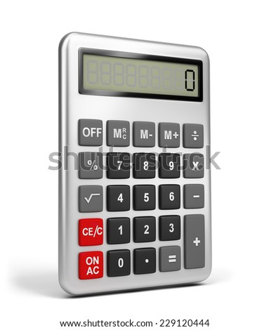 Calculator in metal housing. 3d image. White background. - stock photo