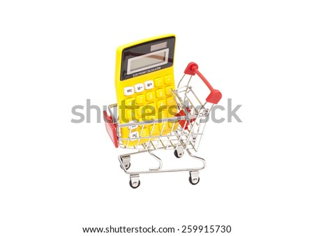 Calculator in shopping cart isolated on white background - stock photo