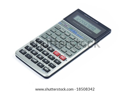 Calculator isolated on white, Business accessories - stock photo