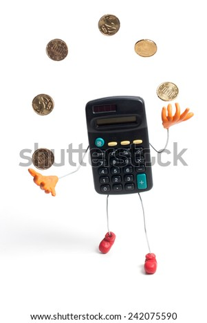 calculator juggling coins isolated on white - stock photo