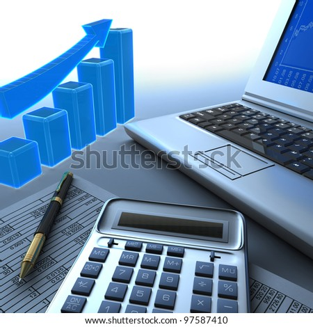 Calculator, laptop and graph. - stock photo