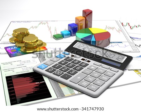 Calculator, money, credit cards and diagrams are on a business background. - stock photo