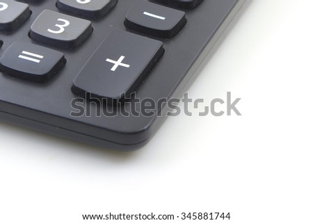 Calculator numpad on a white isolated screen, Number pad, plus sign - stock photo