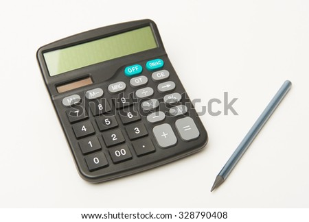 Calculator on a white background with black pencil - stock photo