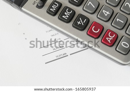 Calculator on finance statement