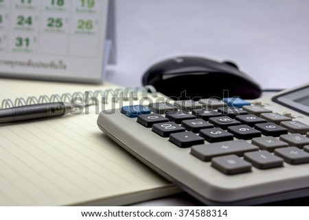 Calculator on the desk in the office