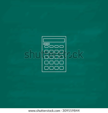 Calculator. Outline icon. Imitation draw with white chalk on green chalkboard. Flat Pictogram and School board background. Illustration symbol