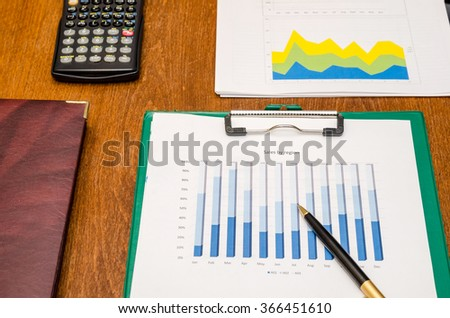 Calculator, pen and financial charts on wooden table
