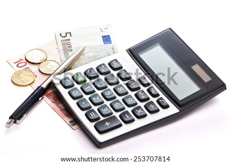 Calculator, pen and money isolated on white background - stock photo