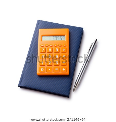 Calculator pen and notebook on white background. With path - stock photo