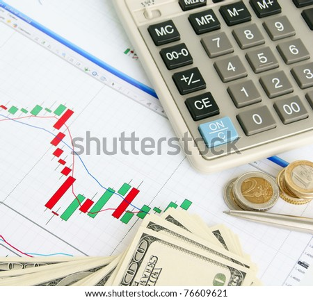 Calculator, pen, dollars and euro on the exchange chart background