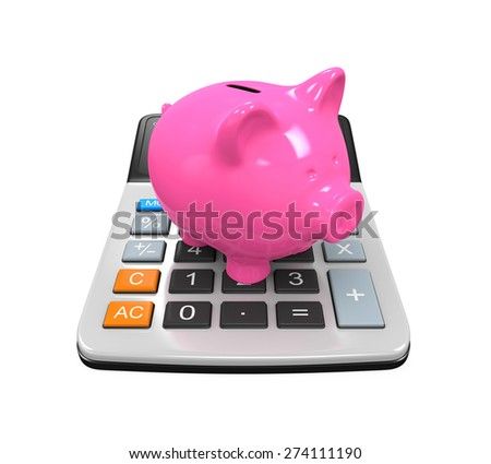Calculator Piggy Bank - stock photo
