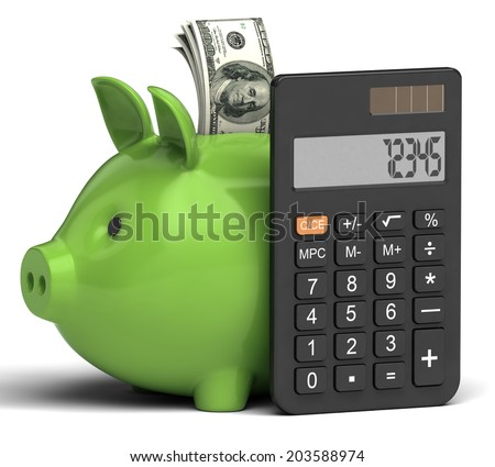calculator piggy bank on white background - stock photo