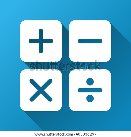 Calculator raster toolbar icon for software design. Style is a white symbol on a square blue background with gradient long shadow.