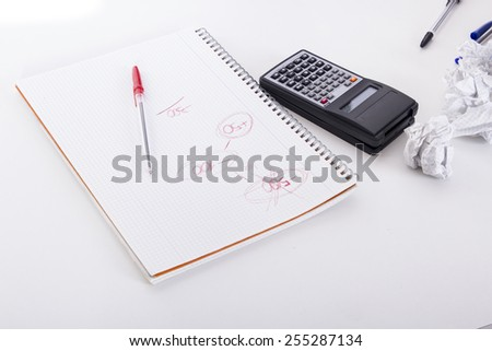 Calculator red numbers - stock photo