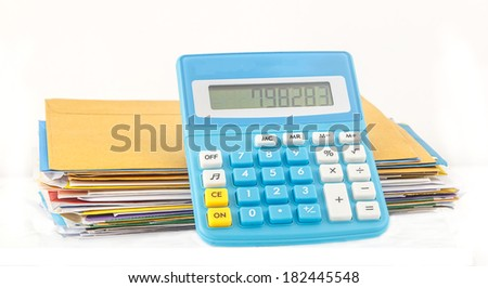 Calculator show number of expense with many bill - stock photo