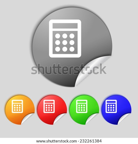Calculator sign icon. Bookkeeping symbol. Set colour buttons.  illustration - stock photo