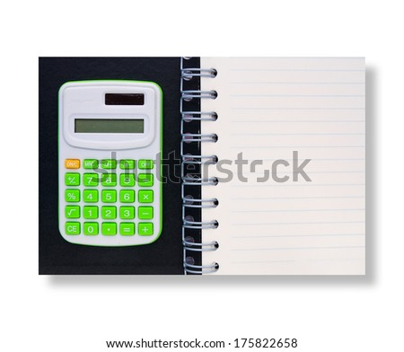 calculator top on cover and notebook isolated on white - stock photo