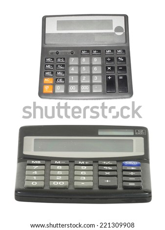 calculator under the white background. Focus under the buttons of calculator.  - stock photo