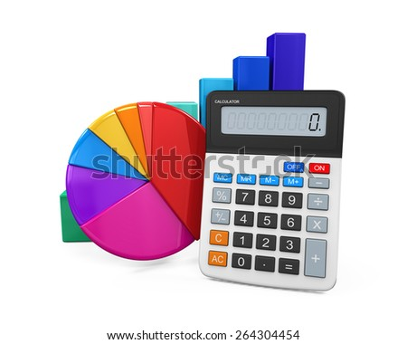 Calculator with Bar Graph and Pie Chart - stock photo