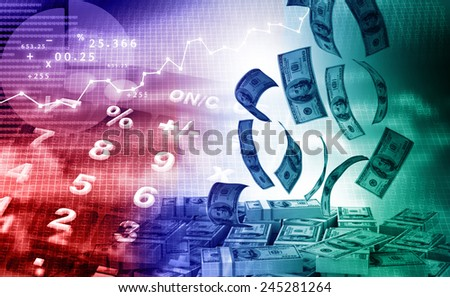 calculator with business charts and graphs  - stock photo