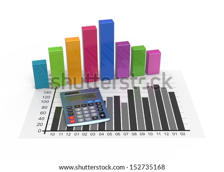 Calculator with business data as concept - stock photo