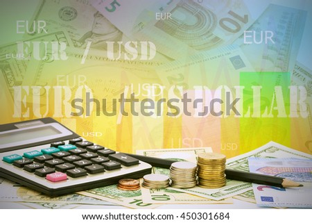 Calculator with coin ,pencil on money banknotes Euro and Dollars, the charts on display. Analytics in pairs EUR / USD - stock photo