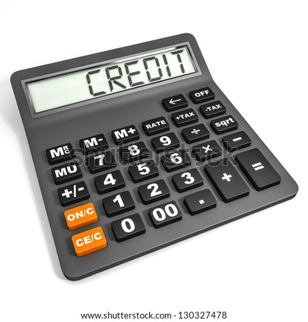 Calculator with CREDIT on display on white background. 3D illustration. - stock photo