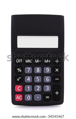 Calculator with empty display - isolated over white background - stock photo