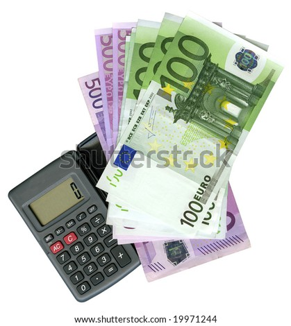 Calculator with Euro bank notes - stock photo