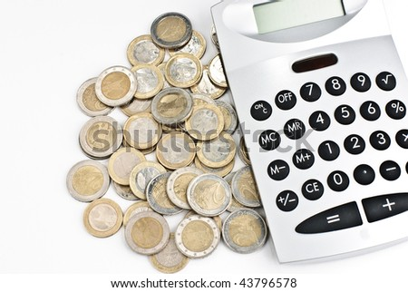Calculator with euro coins isolated on a white background