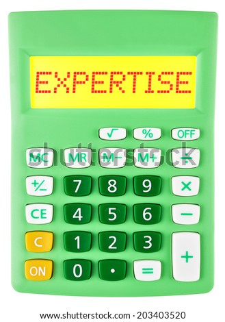 Calculator with EXPERTISE on display isolated on white background