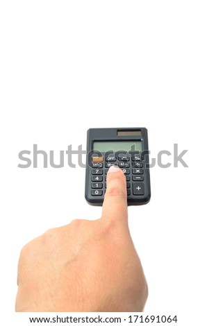 calculator with finger isolated on white - stock photo