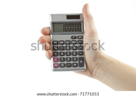 calculator with hand isolated on white
