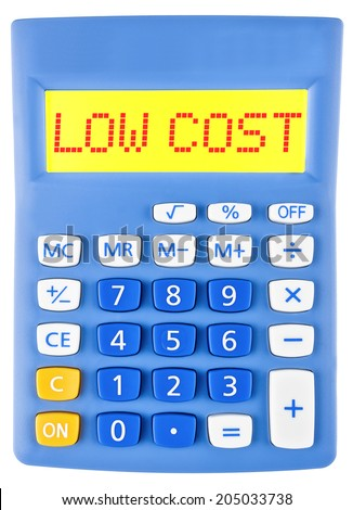 Calculator with LOW COST on display isolated on white background - stock photo