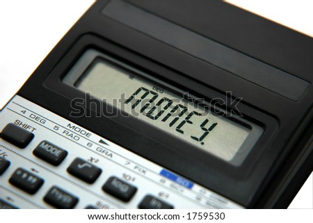 calculator with money on the screen