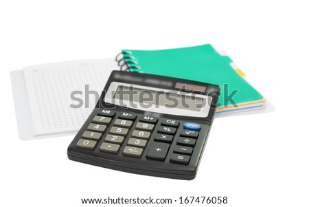 calculator with notepad on a white background - stock photo