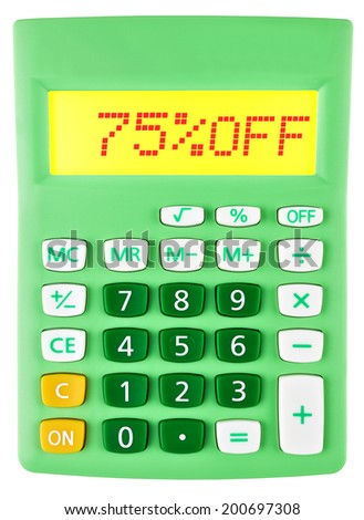 Calculator with 75%OFF on display on white background