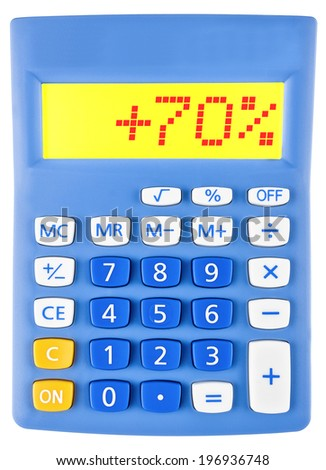 Calculator with +70% on display on white background