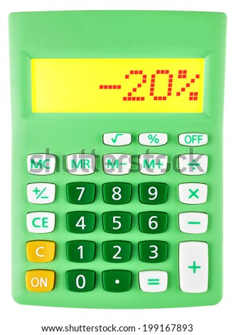 Calculator with -20% on display on white background